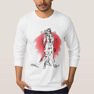 Digitized character of Samurai origin and spacey d T-shirt