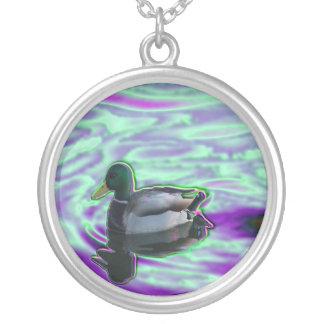 Digitized Duck Round Pendant Necklace