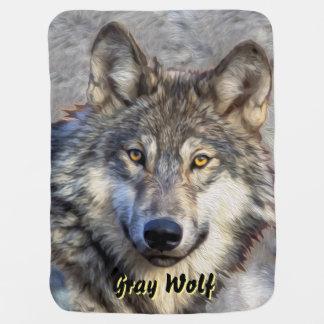 Dignidad del lobo gris manta de bebé