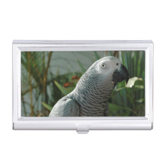 Dignified African Grey Parrot Business Card Holder