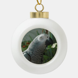Dignified African Grey Parrot Ceramic Ball Christmas Ornament