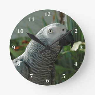 Dignified African Grey Parrot Round Clock