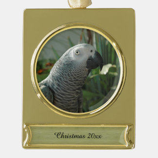 Dignified African Grey Parrot Gold Plated Banner Ornament