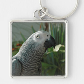 Dignified African Grey Parrot Keychain