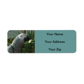 Dignified African Grey Parrot Label