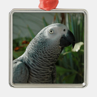 Dignified African Grey Parrot Metal Ornament