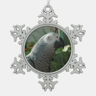 Dignified African Grey Parrot Snowflake Pewter Christmas Ornament