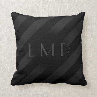 Dignified Double Black Stripes With Monogram Throw Pillow