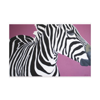 """""""Dignified"""" Zebra on purple background. Canvas Print"""