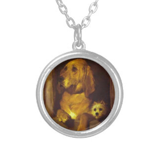 Dignity and Impudence by Edwin Henry Landseer Round Pendant Necklace