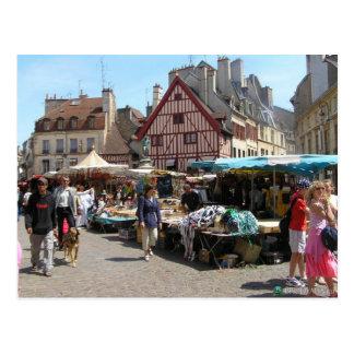 Dijon día de mercado tarjeta postal