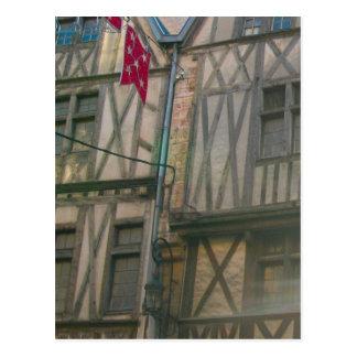 Dijon, old city half timbered buildings postcard