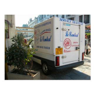Dijon, old city transport, catering van postcard