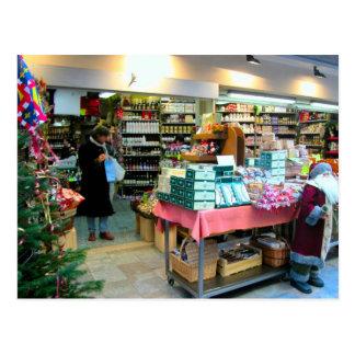 Dijon, tienda de la mostaza en el navidad tarjeta postal