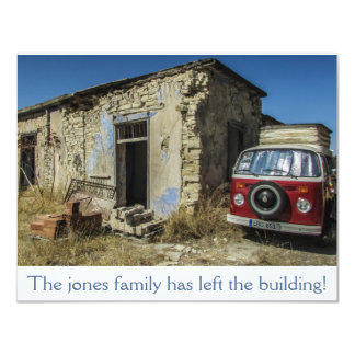 Dilapidated House And Van Moving Announcement