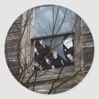 Dilapidated Old Home Round Stickers