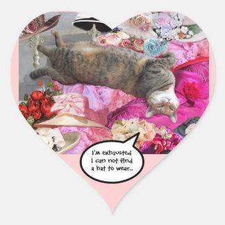 Dilema de princesa Tatus Cat Heart Pegatina En Forma De Corazón