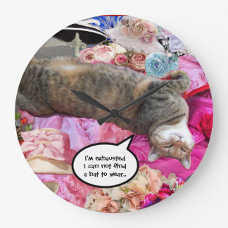 Dilemma of Princess Tatus Cat Large Clock