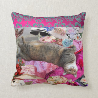 Dilemma of Princess Tatus Cat Throw Pillow