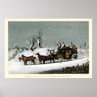 Diligencia del siglo XIX del Victorian en la nieve Póster