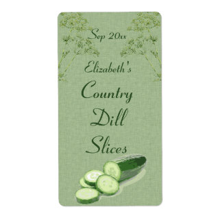 Dill and Sliced Cucumber on Pale Green Canvas Label
