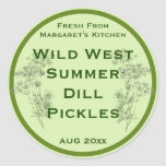 Dill Flower and Leaves Pickling Label Classic Round Sticker