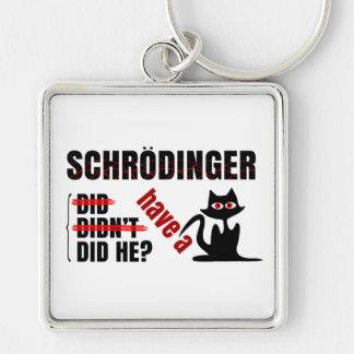Dillema de Schrodinger Llavero Cuadrado Plateado