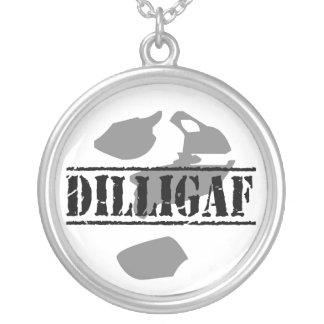 DILLIGAF? Does it look like I give a .... Silver Plated Necklace