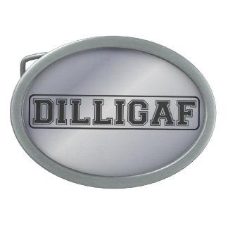 """DILLIGAF – Funny rude """"Do I look like I Give A"""" Oval Belt Buckle"""