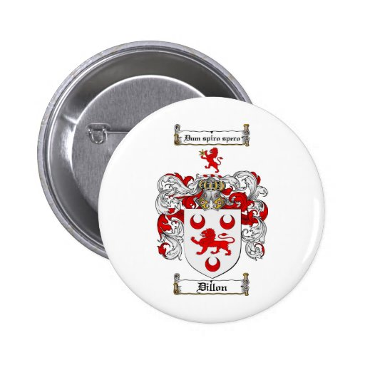 DILLON FAMILY CREST -  DILLON COAT OF ARMS 2 INCH ROUND BUTTON