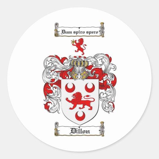 DILLON FAMILY CREST -  DILLON COAT OF ARMS CLASSIC ROUND STICKER