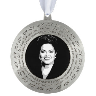 Dilma Rousseff Round Pewter Christmas Ornament