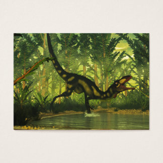 Dilong dinosaur in a forest business card