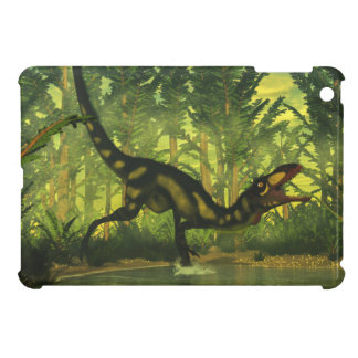 Dilong dinosaur in a forest case for the iPad mini