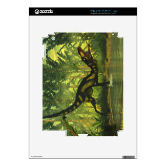 Dilong dinosaur in a forest decal for iPad 2