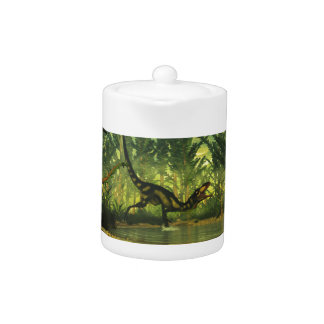Dilong dinosaur in a forest teapot