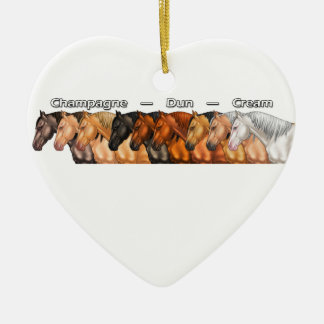 Dilute Horses Double-Sided Heart Ceramic Christmas Ornament