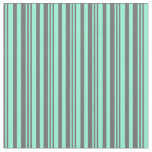 [ Thumbnail: Dim Gray and Aquamarine Striped/Lined Pattern Fabric ]