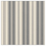[ Thumbnail: Dim Gray and Beige Striped Pattern Fabric ]