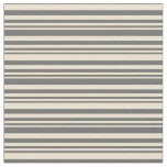 [ Thumbnail: Dim Gray and Beige Stripes Pattern Fabric ]