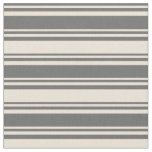 [ Thumbnail: Dim Gray and Bisque Colored Lines Pattern Fabric ]