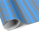 [ Thumbnail: Dim Gray and Blue Lined/Striped Pattern Wrapping Paper ]