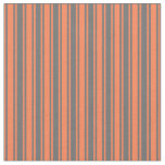 [ Thumbnail: Dim Gray and Coral Pattern Fabric ]