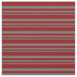 [ Thumbnail: Dim Gray and Dark Red Colored Stripes Fabric ]