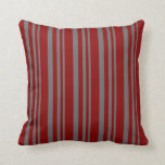 [ Thumbnail: Dim Gray and Dark Red Colored Stripes Throw Pillow ]