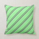 [ Thumbnail: Dim Gray and Green Colored Pattern of Stripes Throw Pillow ]