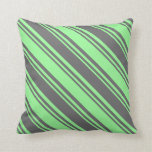 [ Thumbnail: Dim Gray and Green Lined Pattern Throw Pillow ]
