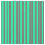 [ Thumbnail: Dim Gray and Green Striped/Lined Pattern Fabric ]