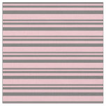 [ Thumbnail: Dim Gray and Pink Lines Fabric ]