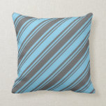 [ Thumbnail: Dim Gray and Sky Blue Colored Striped Pattern Throw Pillow ]